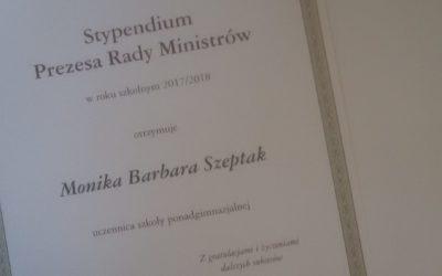 Stypendium Premiera dla Moniki Szeptak